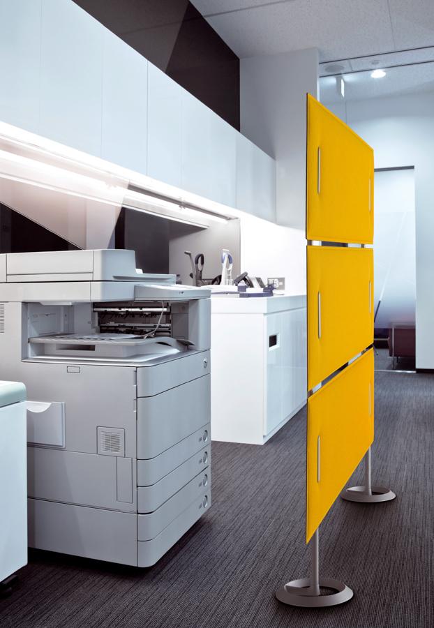 Systemtrennwände Bürowände gelbe Trennwände Raumteiler - Schallschutz Sichtschutz