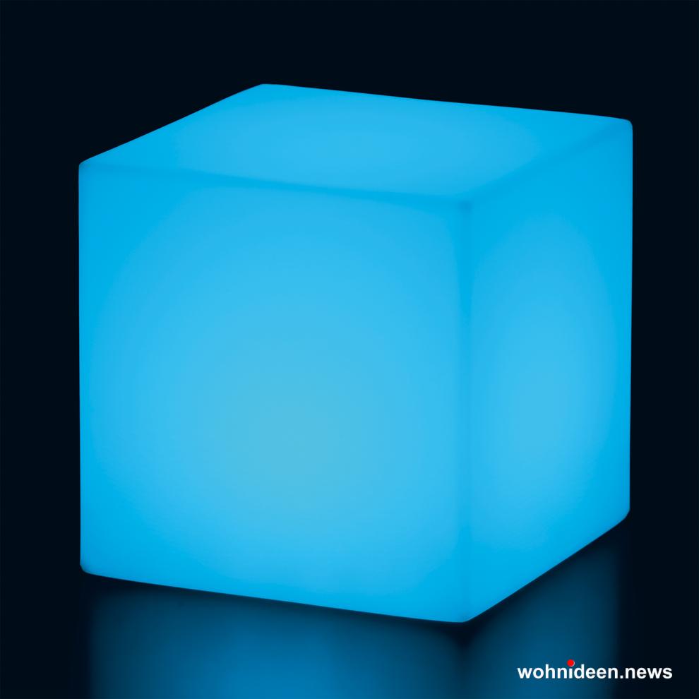 Gartenlampen Gartenleuchten blau - CUBO Leuchtwürfel | Sitzwürfel beleuchtet