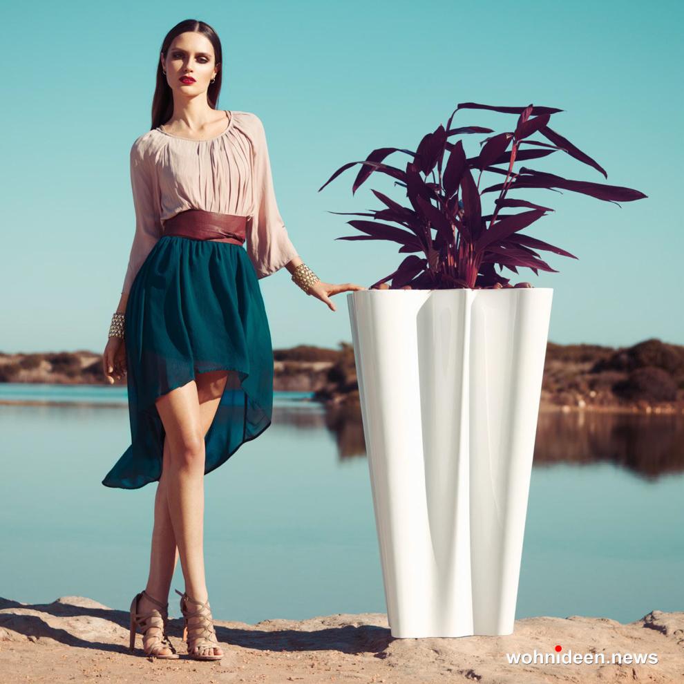 Hohe Vasen weiss Gartenmöbel - Designer Gartenmöbel Wetterfest | Terrassenmöbel Wetterfest