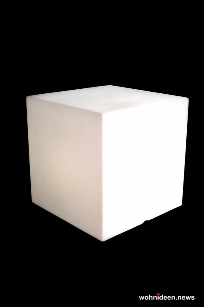 Sitzwürfel OUTDOOR 50 weiß - Sitzwürfel beleuchtet Hocker Leuchtwürfel