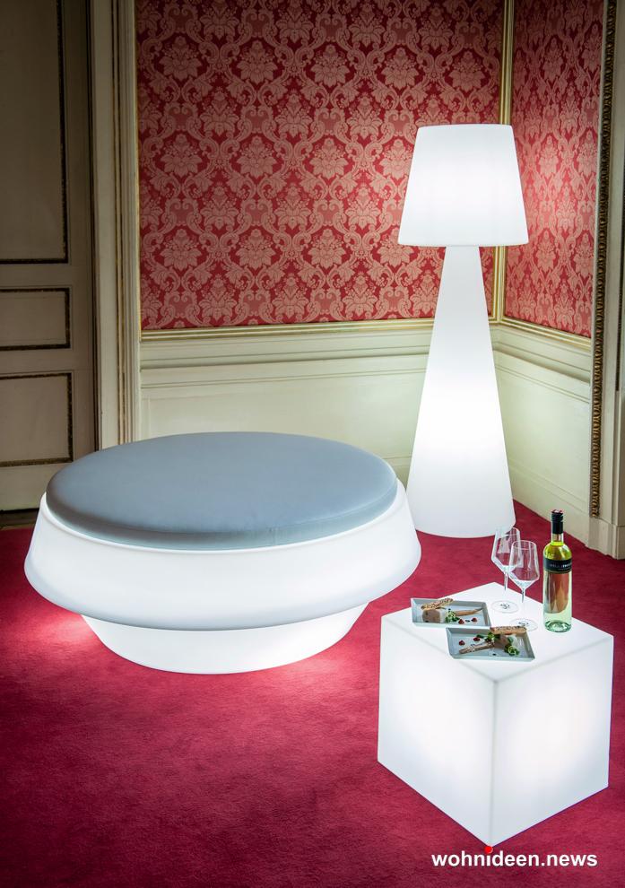 Slide floor lamp pivot - Sitzwürfel beleuchtet Hocker Leuchtwürfel