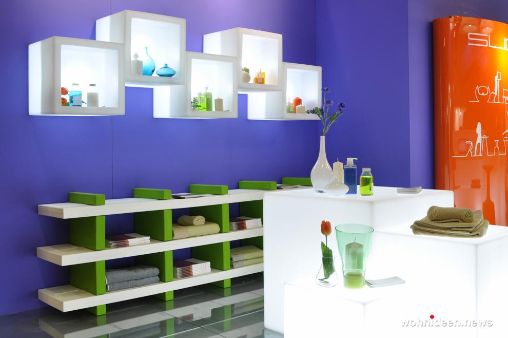 Slide modular display open cube - Sitzwürfel beleuchtet Hocker Leuchtwürfel