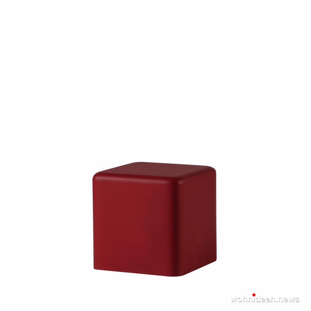 dunkelrot led sitzwürfel kunststoff outdoor beleuchtet Slide soft cubo soft red - CUBO Leuchtwürfel | Sitzwürfel beleuchtet