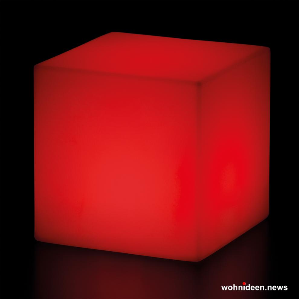 gartenlampe würfel sitzwürfel rot - CUBO Leuchtwürfel | Sitzwürfel beleuchtet