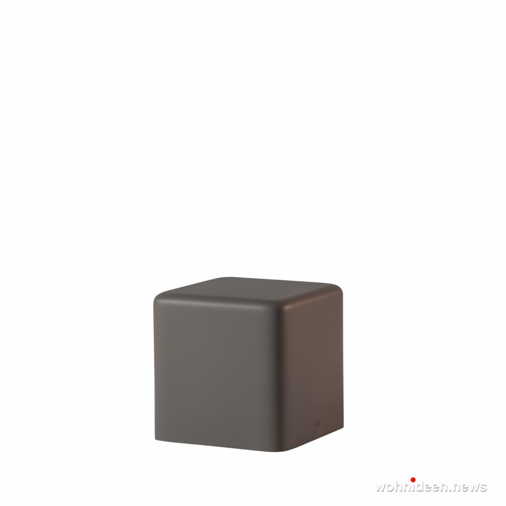 grau led sitzwürfel kunststoff outdoor beleuchtet Slide soft cubo soft argil - CUBO Leuchtwürfel | Sitzwürfel beleuchtet