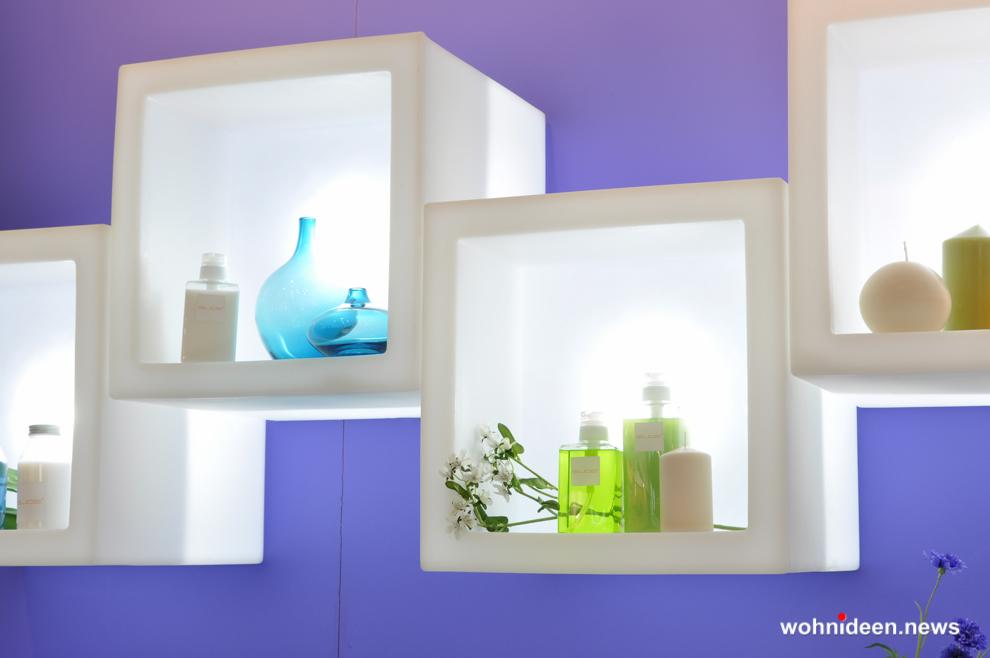 led Slide modular display open cube - CUBO Leuchtwürfel | Sitzwürfel beleuchtet