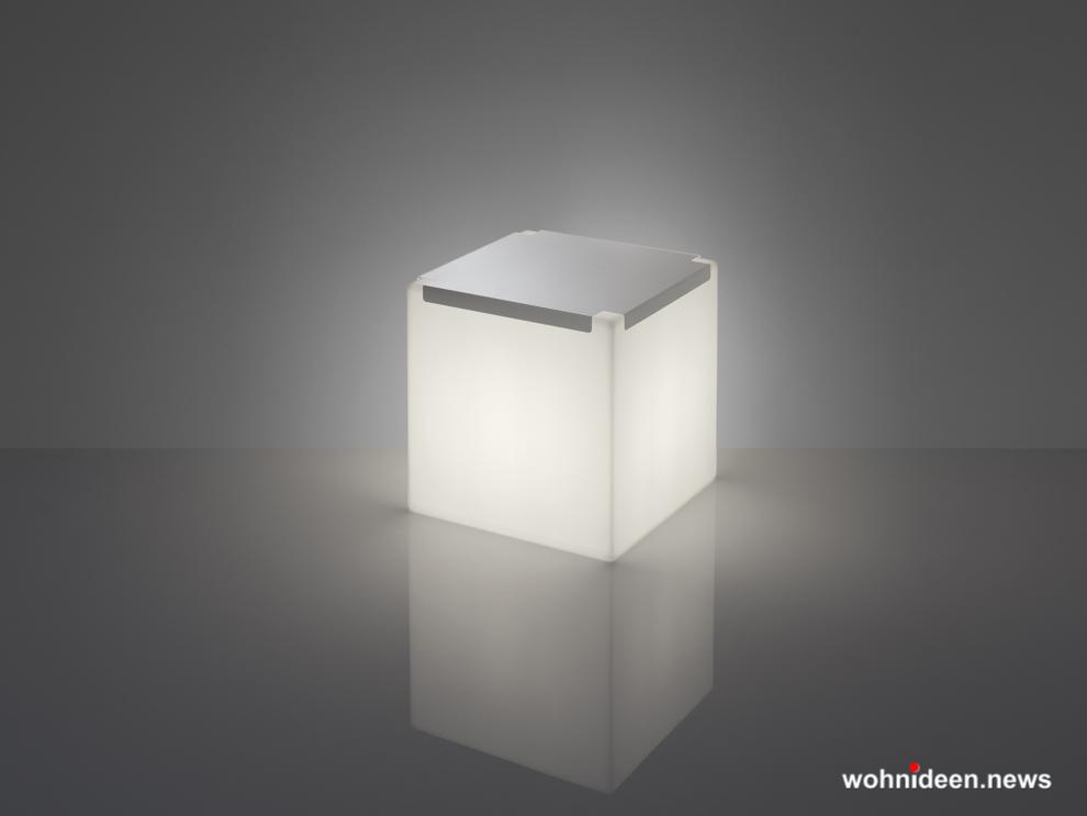 led hocker kunststoff outdoor beleuchtet Slide Kubo Inox Light White - CUBO Leuchtwürfel | Sitzwürfel beleuchtet