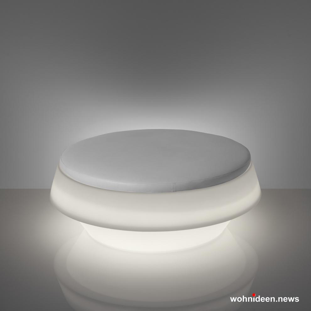 loungemöbel beleuchtet Gio Pouf Light White Sfondo - Loungemöbel Outdoor Wetterfest