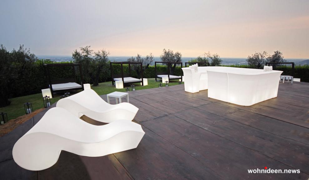 loungemöbel gartenmöbel chaiselongue rococò 6 - LED Möbel, beleuchtete Möbel, Leuchtmöbel