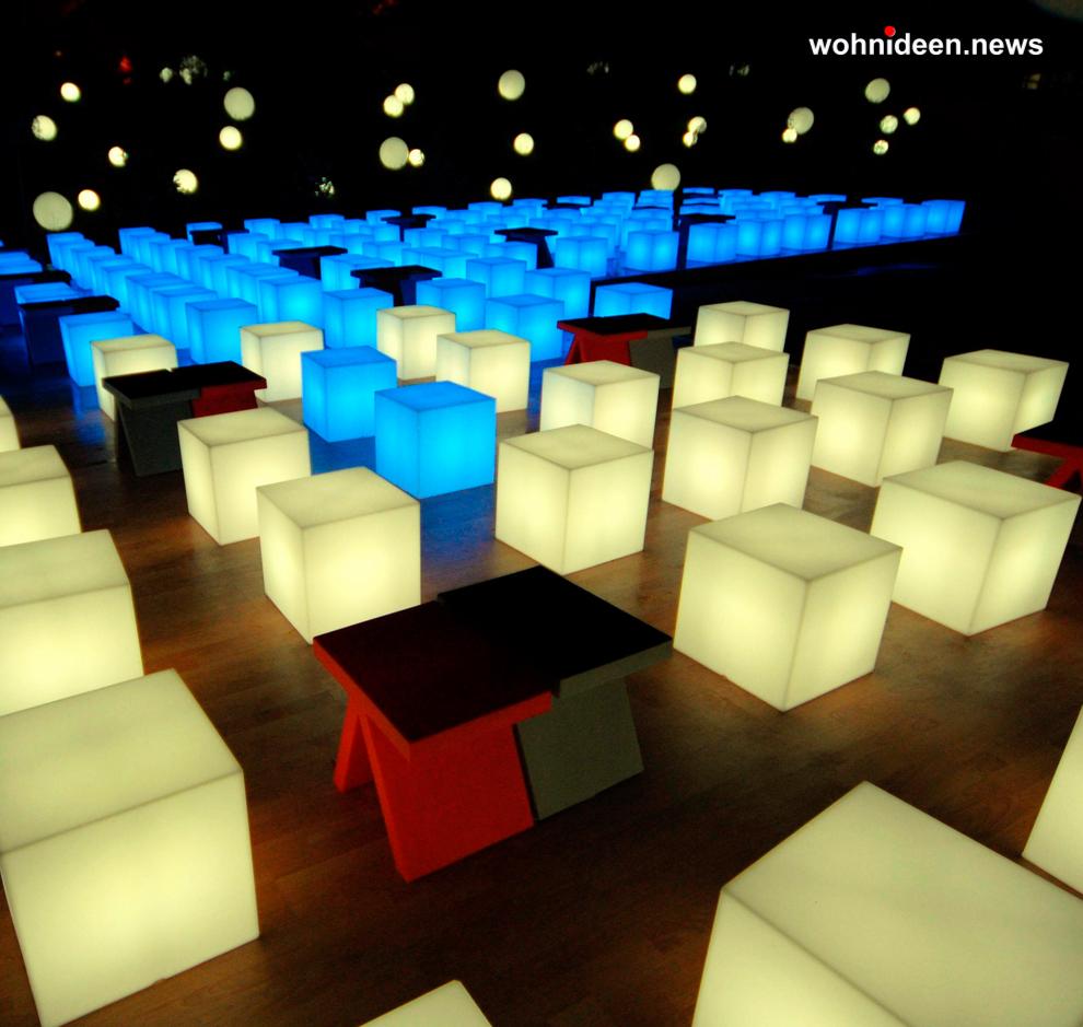 slide cubo 5 leuchtmöbel - Leuchtwürfel Sitzwürfel Hocker beleuchtet
