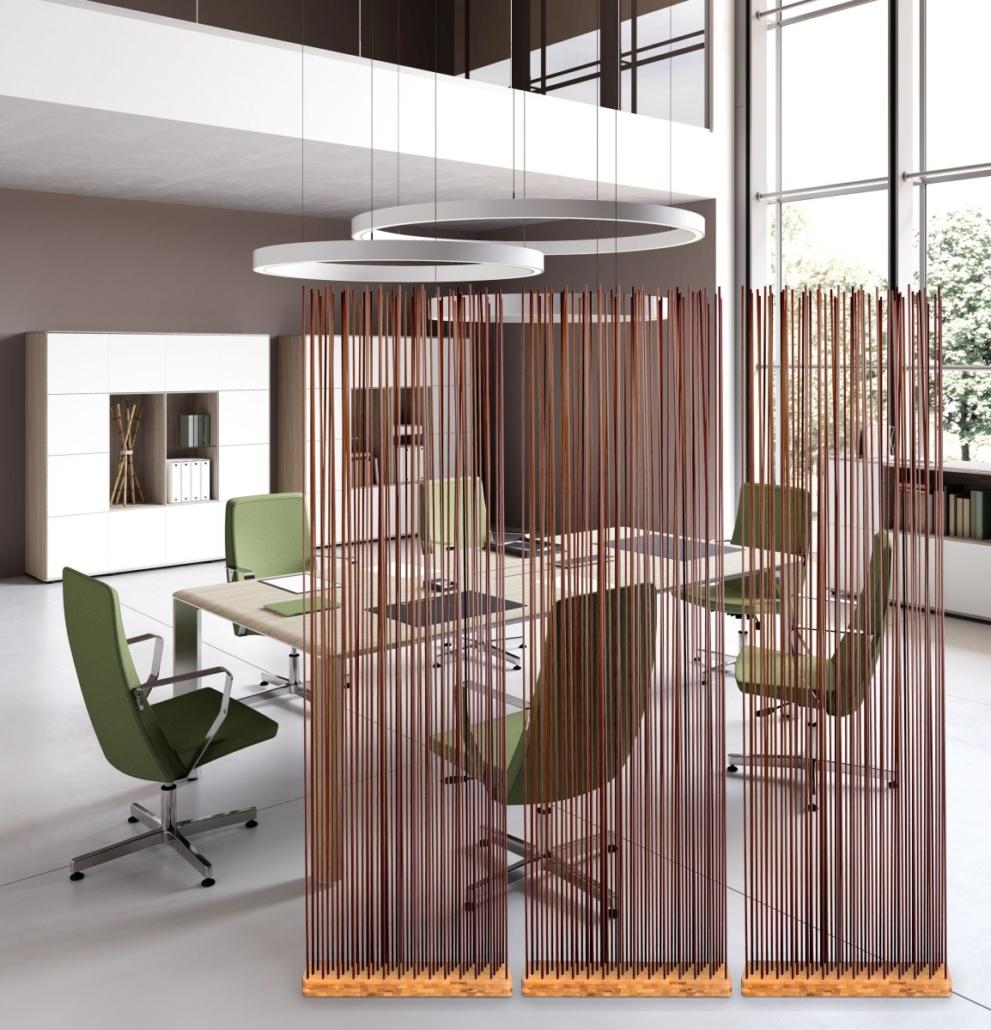 Braune Naturfarben Raumtrenner Sichtschutz Büroeinrichtung Besprechungsraum 991x1030 - Büroeinrichtung modern | Individuelle Premium Möbel