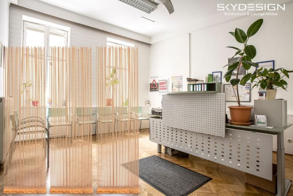 Sichtschutz Möbel fürs Wartezimmer Empfangsbereich 1030x688 - Wartezimmer Einrichtung: Die perfekte Ordination mit dem skydesign Raumteiler