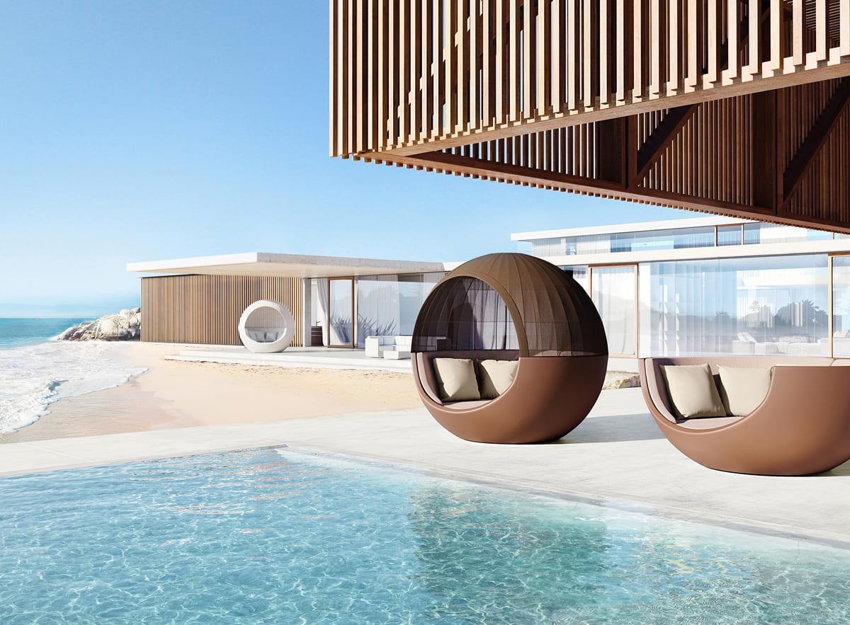 braune liege pool sonnenliege - Moderne Loungemöbel Outdoor