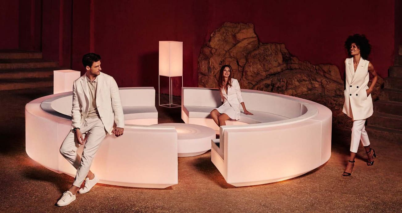 runde loungemoebel weiss beleuchtet - Moderne Loungemöbel Outdoor